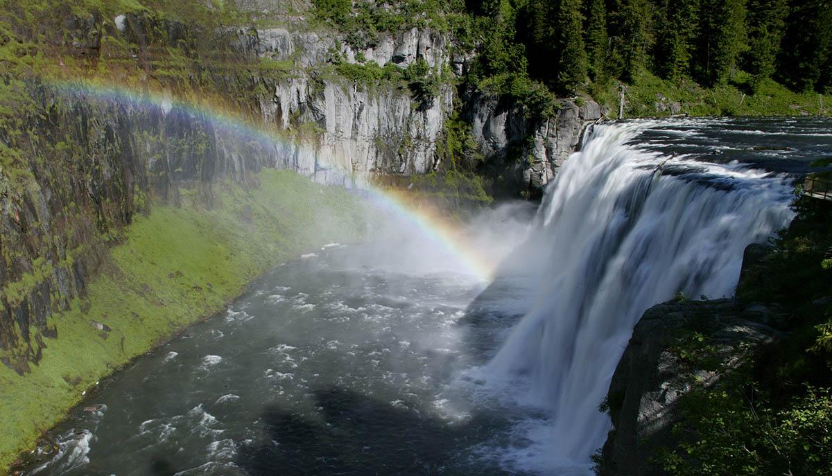 Upper Mesa Falls with rainbow, Island Park, Idaho