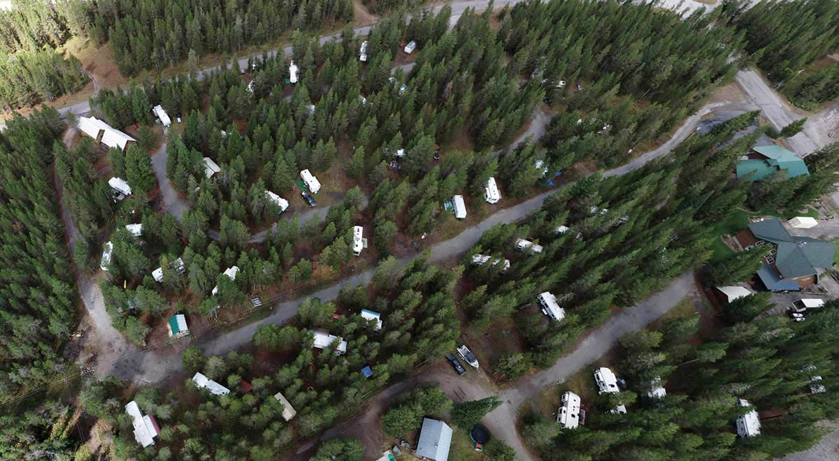 Aerial view of Henrys Fork RV Park